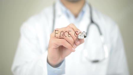 the conception : Face Care , Doctor writing on transparent screen Stock Footage
