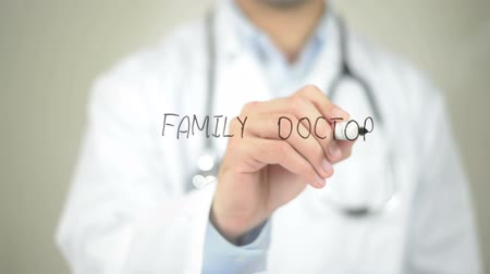 healthy office : Family Doctor , Doctor writing on transparent screen