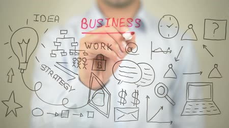 planos : Business, Concept Illustration, Man writing on transparent screen Stock Footage