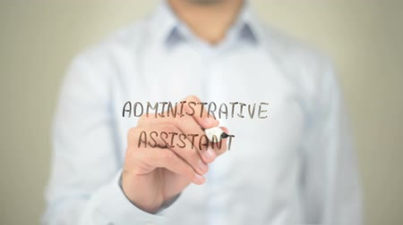 mysz : Administrative Assistant, Man writing on transparent screen Wideo
