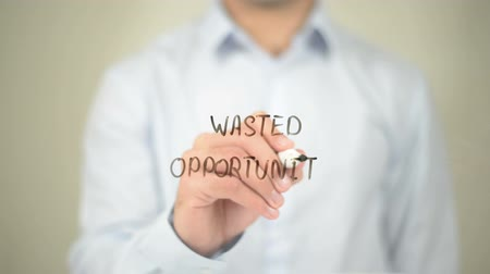 auxiliar : Wanted Opportunity, Man Writing on Transparent Screen Stock Footage