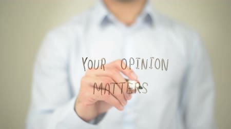 seu : Your Opinion Matters, Man Writing on Transparent Screen