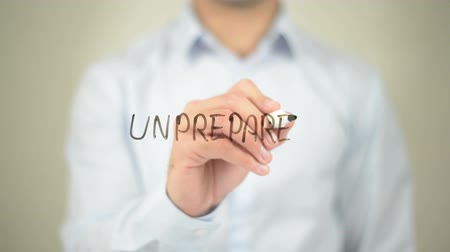 unready : Unprepared, Man writing on transparent screen Stock Footage
