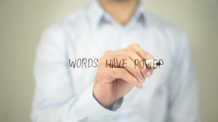 deneyim : Words Have Power, man writing on transparent screen Stok Video