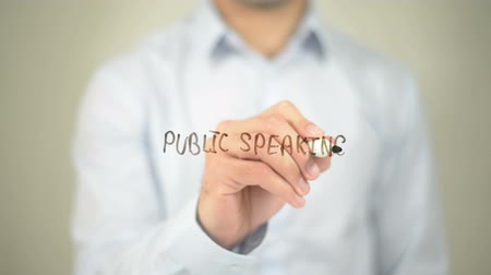 подиум : Public Speaking , man writing on transparent screen