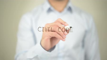 amendment : Civil Code, man writing on transparent screen