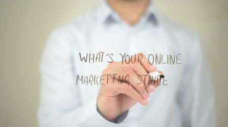 optimalizace : Whats Your Online Marketing Strategy, man writing on transparent screen