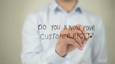 relação : Do You Know Your Customer Right ? man writing on transparent screen