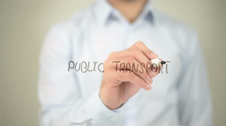 gotículas : Public Transport , man writing on transparent screen Stock Footage