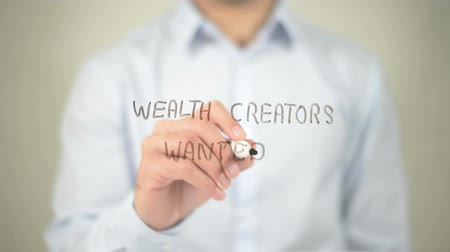служба : Wealth Creators Wanted , man writing on transparent screen