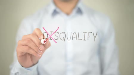 multirracial : No to Disqualify , man writing on transparent screen