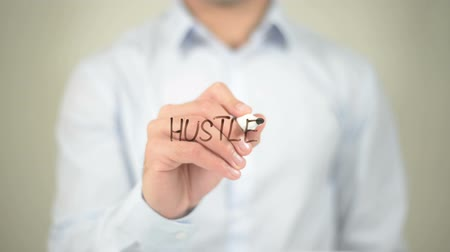 horas : Hustle, man writing on transparent screen Stock Footage