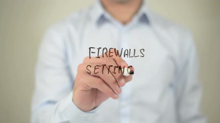 портфель : Firewalls Settings , man writing on transparent screen