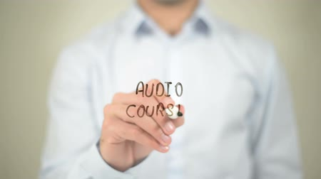 подиум : Audio Course, writing on transparent screen Стоковые видеозаписи