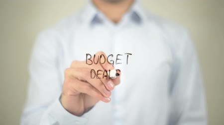 подчеркнул : Budget Deals, writing on transparent screen