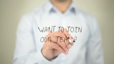 suécia : Want To Join Our team, writing on transparent screen Stock Footage