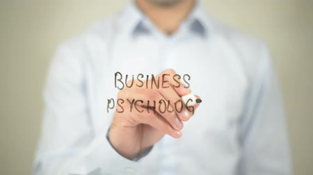 psikoloji : Business Psychology, writing on transparent screen