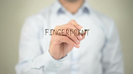 parmak izi : Fingerprint, writing on transparent screen Stok Video