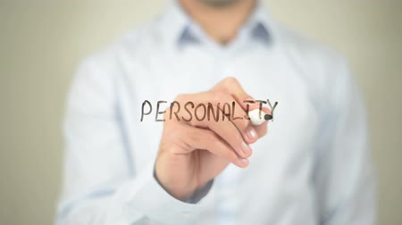 personalidade : Personality   ,  man writing on transparent wall