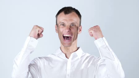 ура : Very happy energetic businessman , good news