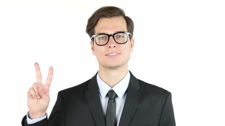 yeah : employer satisfied with his profit, income, earnings, Victory Sign