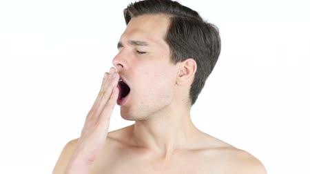 obtížný : Male with lack of sleep ,a man yawning