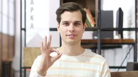 честолюбие : Man shows ok sign excellent job , Successful business Стоковые видеозаписи