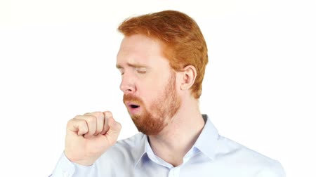 irritáció : red hair man coughing on white background