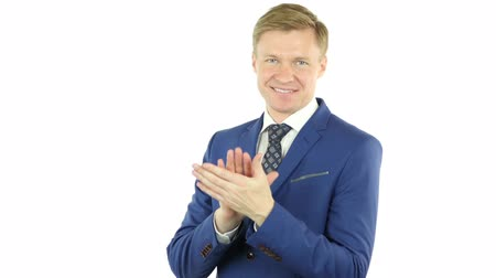 executivo : Clapping Gesture of businessman,Applauding,  isolated on white background Stock Footage