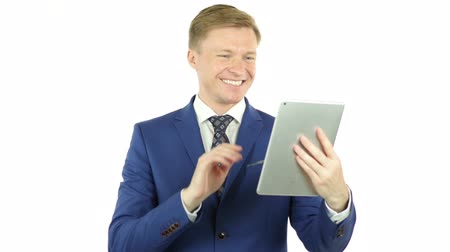 business man : Video Conference on Tablet, Business Discussion, online communication