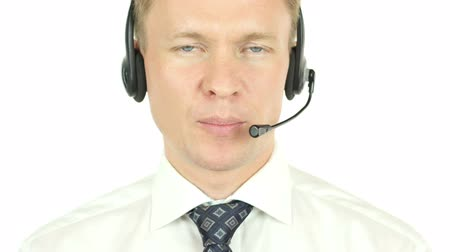 fejhallgató : Call Center Operator Working, Talking with Clients, Customer Service
