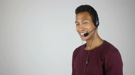 mikrofon : Smiling Call Center Operator, Service Center Agent