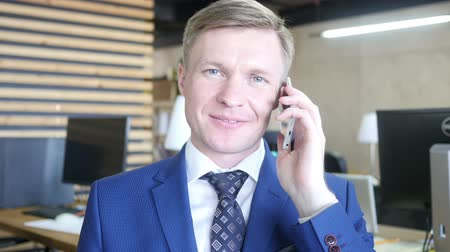 Portrait of businessman talking on the phone Стоковые видеозаписи