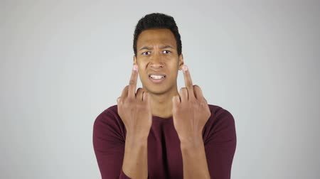 separado : Fuck You, Showing Middle Finger with Both Hand, Gesture By Angry Man