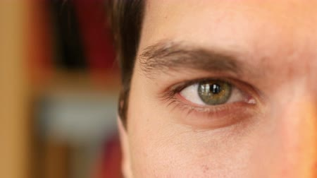 olhos castanhos : Close Up of Man Eye Stock Footage