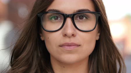 eye : Close Up of Beautiful Girl Face in Glasses, Outdoor Stock Footage