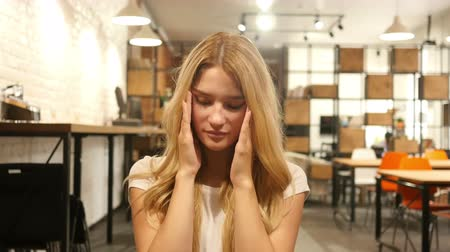 woman working : Headache, Upset, Frustrated Girl Stock Footage