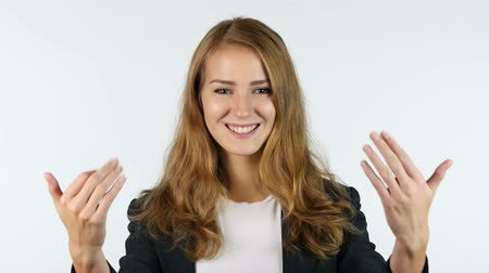 приехать : Businesswoman Inviting, Invitation, Portrait, White background Стоковые видеозаписи