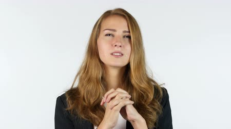 modlitba : Businesswoman Praying To God, White background