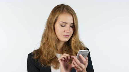 yazılım : Businesswoman Using Smartphone, White background