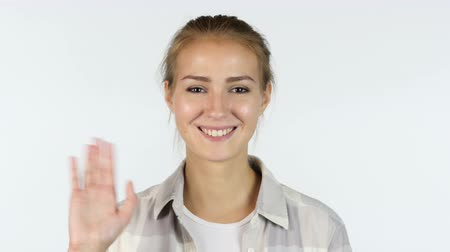 дама : Hello, Welcoming Gesture for Guest by Beautiful Girl, White Background