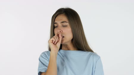 adil : Coughing Sick Beautiful Girl, White Background in Studio Stok Video