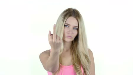 kötü : Fuck You, Angry Woman shows Fuck you Sign, White Background Stok Video