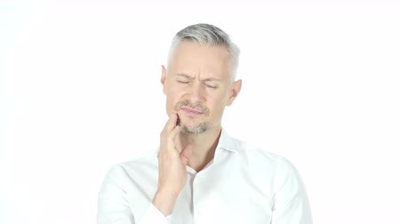przychodnia : Man Having Toothache, Pain In Teeth, Portrait White Background Wideo