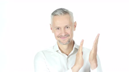 sosyal konular : Businessman Clapping, Applauding On White background Stok Video