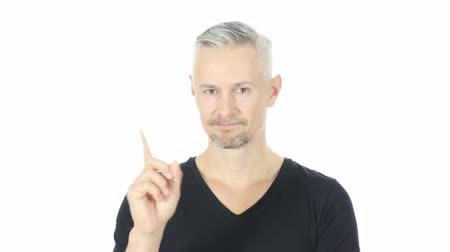 peeved : No, Disallowing Middle Aged Man Waving Finger, White Background Stock Footage