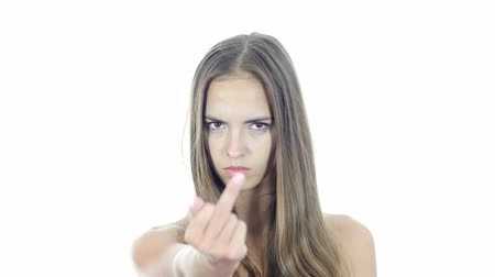orta : Fuck You, Angry Woman shows Fuck you Sign, White Background Stok Video