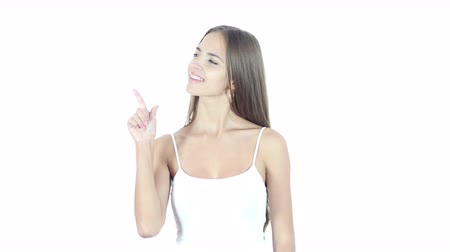 insan parmak : Woman Pointing Showing Aside, White Background