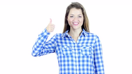 sikerül : Thumbs Up By Beautiful Young Woman, White Background