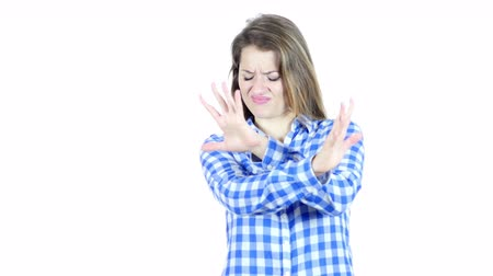 peeved : Stop, Rejecting Gesture, By Woman, White Background Stock Footage